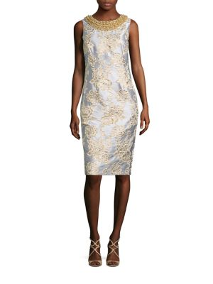 Beaded Metallic Brocade Sheath Dress