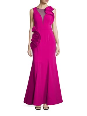 Deep V-Illusion Gown