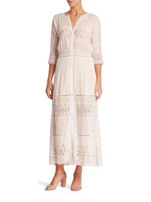 Beth Cotton Lace Inset Maxi Dress