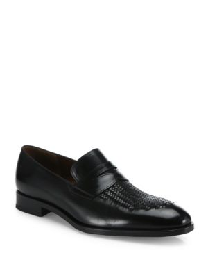 Leather Hand-Woven Loafers