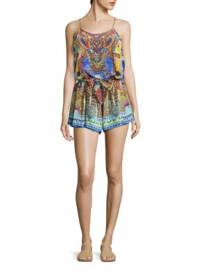 camilla female shoestring strap silk romper