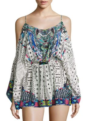 camilla female embellished coldshoulder silk romper