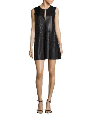 Faux Leather Sleeveless Shift Dress
