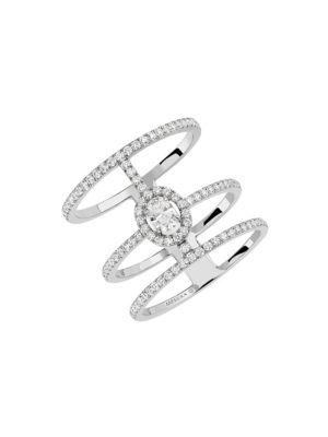 Glam'Azone 3-Row Diamond & 18K White Gold Ring