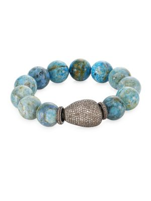 BAVNA Pave Diamond Agate Bead Bracelet