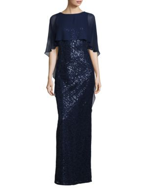 Sequined Sheer Overlay Dress