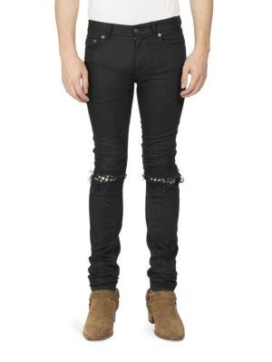 Leather Stud Skinny Jeans