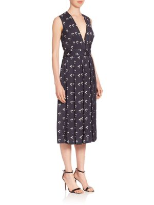 Buy Victoria Beckham Pleated Daisy-Print Midi Dress online with Australia wide shipping