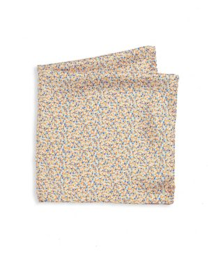 COLLECTION Floral Printed Silk Pocket Square