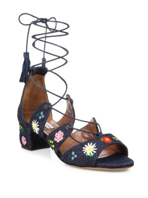 WOMAN ISADORA EMBROIDERED DENIM SANDALS DARK DENIM