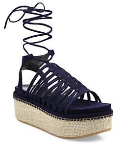 83d18ac5bc51 Stuart Weitzman Knotagain Suede Lace-Up Platform Sandals