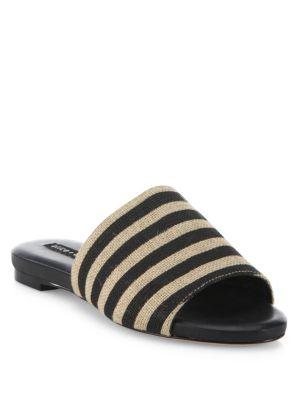Ramona Striped Raffia Slides