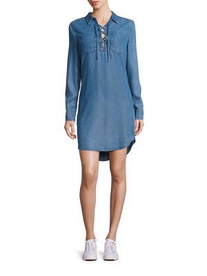 Billie Lace-Up Chambray Shirt Dress