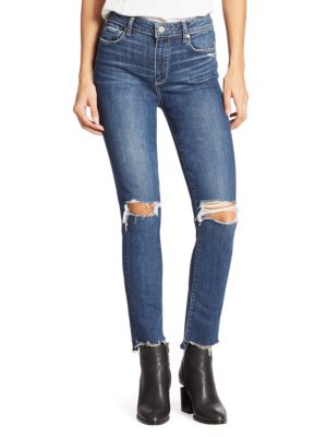 Hoxton High-Rise Distressed Step Hem Ankle Jeans