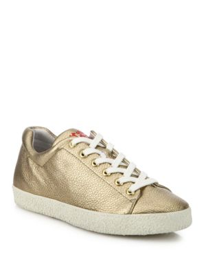 Nicky Bis Metallic Leather Sneakers