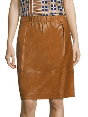 Noellene Lacquered Leather Skirt