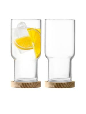 Two-Piece Utility Highball Glass and Wood Coaster Set