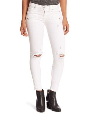 Roe Distressed Moto Super Skinny Ankle Jeans
