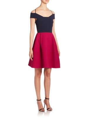 Natan Cold Shoulder Colorblock Dress