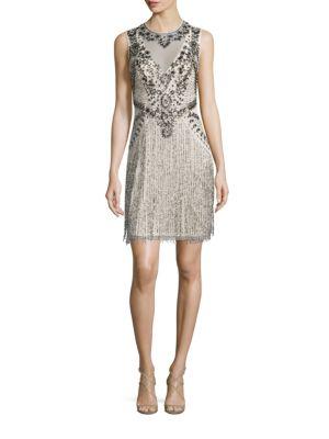 Sleeveless Beaded Fringe Dress