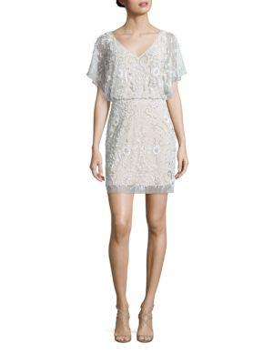 Sequined Flutter Sleeve Dress