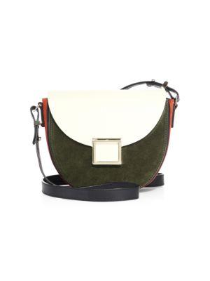 Mini Jaime Two-Tone Leather Saddle Bag