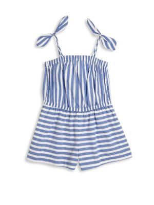 Girl's Striped Chambray Shirting Romper