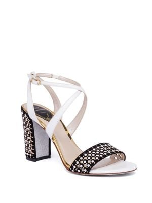Pearl Studded Suede & Leather Block Heel Sandals