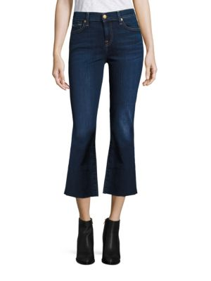 b(air) Denim Cropped Flared Raw Hem Jeans