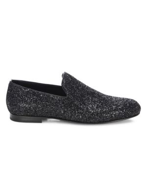 Sloane Glittered Patent Leather Slippers