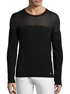 Versace Collection , Sheer Top Greek Key Sweater