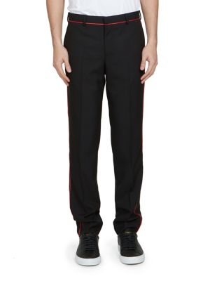 Piped Wool-Blend Pants