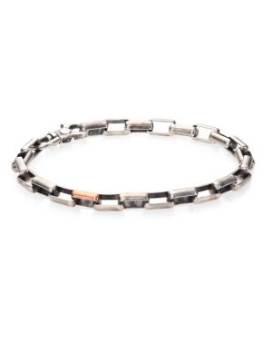 Gridlocks Sterling Silver and Rosegold Large Box Chain Bracelet