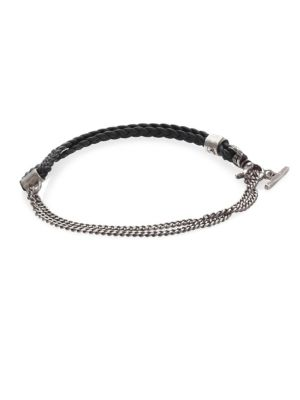 Gridlocks Sterling Silver and Braided Leather Bracelet