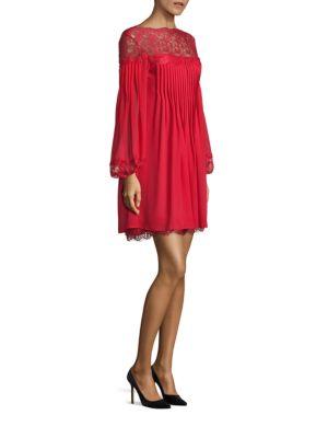 Lace Yoke Pleated Dress