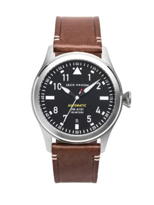 Aviation Stainless Steel & Italian Leather Automatic Strap Watch