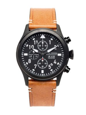 Aviation Chronograph PVD Leather Strap Watch