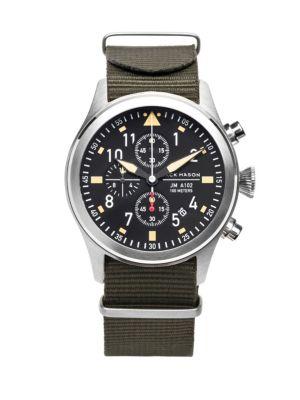 JACK MASON Aviation Stainless Steel Chronograph Strap Watch