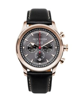 Nautical Chronograph Gray Dial Leather Strap Watch
