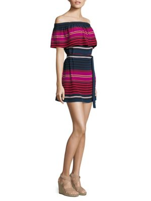 Arla Striped Silk Off-The-Shoulder Dress