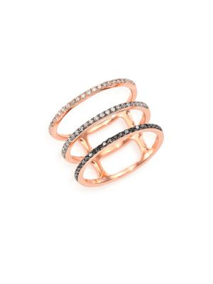 Black/White Diamond & 14K Rose Gold Fade Triple-Band Ring