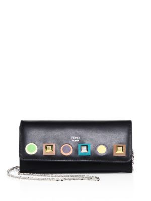Long Rainbow Studded Leather Chain Wallet