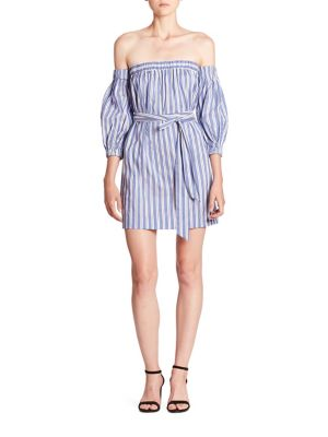 Striped Cotton & Silk Off-The-Shoulder Dress