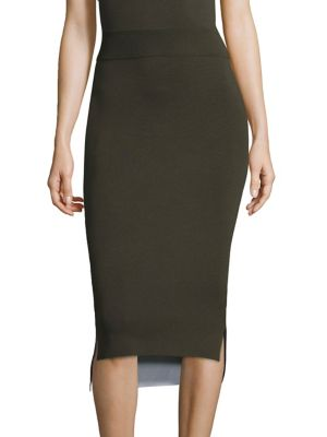 Reversible Merino Wool Midi Skirt