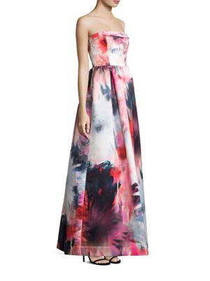 Janie Strapless Floral-Print Gown
