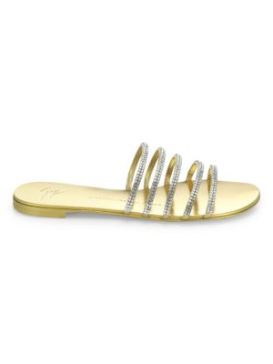Strappy Crystal-Embellished Metallic Leather Slides