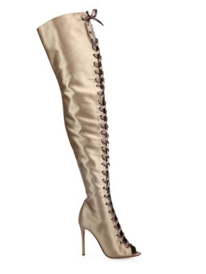 Marie Satin Over-The-Knee Lace-Up Peep Toe Boots