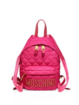 Studded Logo Patch Quilted Mini Backpack 0400093187698