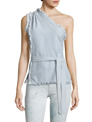 Rosie HW x PAIGE Emmanuelle Frayed Chambray One-Shoulder Top by PAIGE