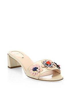 48d43c74de74 Fendi Flowerland Studded Patent Leather Block Heel Slides from Saks ...